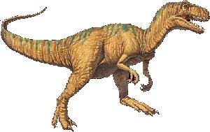 allosaurus zoals op de steen staat afgebeeld