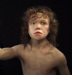 moderne reconstructie van de een neanderthalerkind