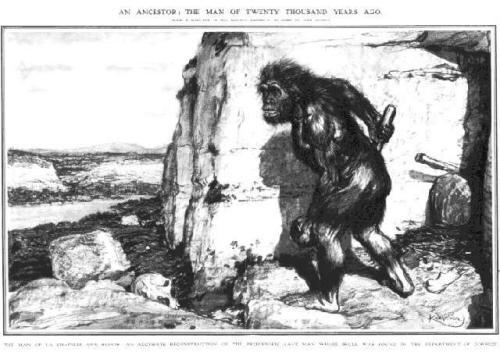 de neanderthaler zoals men hem vroeger voorstelde